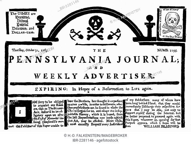 Historical print, US-American history, 18th century, facsimile, reaction in the Pennsylvania Journal on the British Stamp Act in the North American colonies