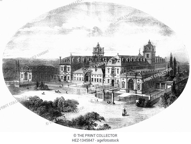 Wellington College, Berkshire, 1855. View of the South Front of the College which was designed by the architect John Shaw