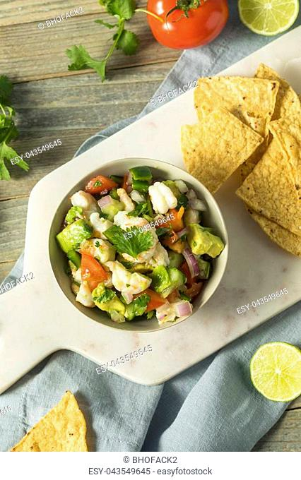 Raw Homemade Shrimp Ceviche with Veggies and Chips
