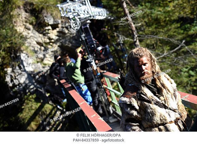 The stunt double Martin Schneider pictured on the set of ICEMAN (AT) - Die Legende von Oetzi (lit. ICEMAN (AT) - the Legend of Oetzi) in Eschenlohe, Germany