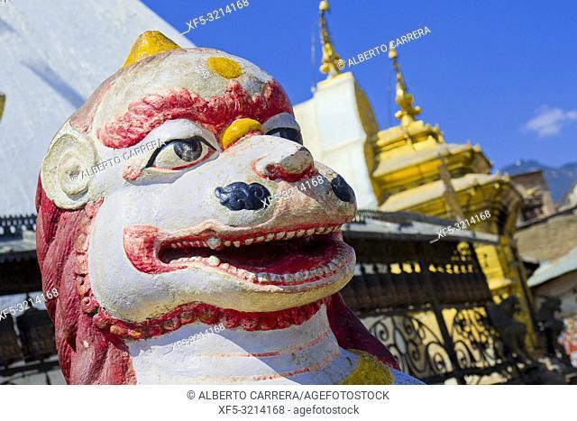 Lion Sculpture, Swayambhunath Temple, Monkey Temple, UNESCO World Heritage Siite, Kathmandu, Nepal, Asia