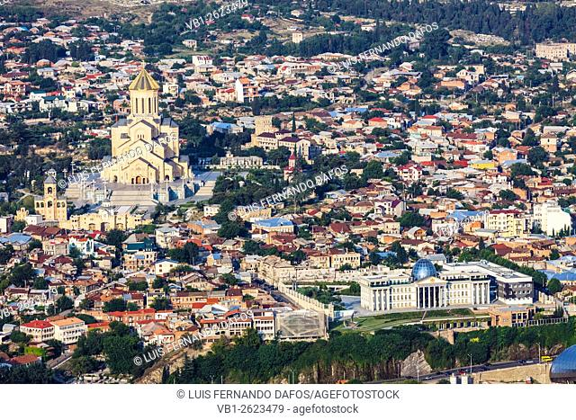 Aerial view with Tsminda Sameba new cathedral and Presidential Palace, Tbilisi, Georgia