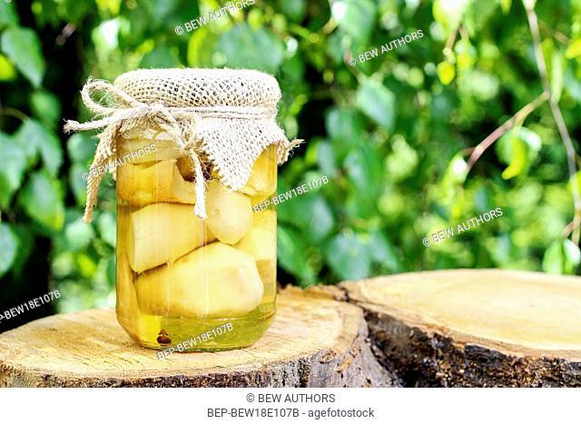 Glass jar of pickled mushrooms. Healthy food