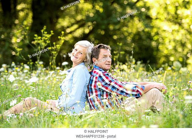 Senior couple sitting back to back on a meadow