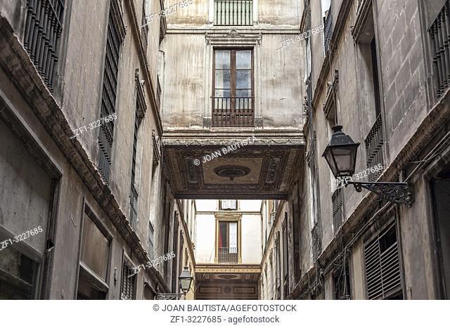 Ancient street facade house, passage, Pasaje de la Paz, gothic quarter of Barcelona