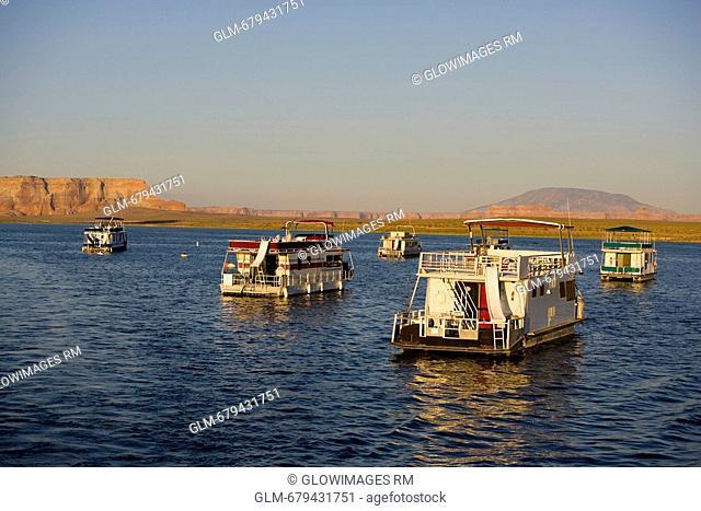 Houseboats in the lake, Glen Canyon Dam, Lake Powell, Colorado River, Page, Arizona, USA