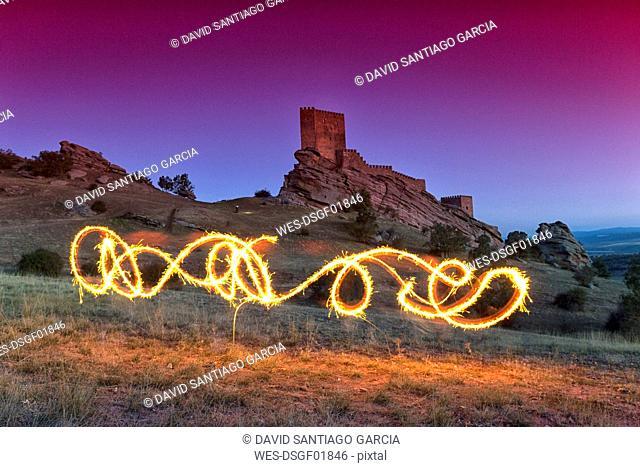 Spain, Guadalajara, Castle of Zafra, Lightpainting