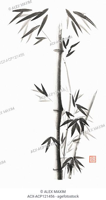 Minimalistic bamboo stalks with leaves artistic oriental style illustration, Japanese Zen Sumi black ink painting on white rice paper background