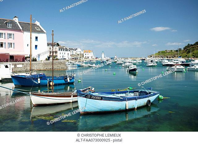 Boats in marina, Sauzon, Belle-Ile-en-Mer, Morbihan, Brittany, France