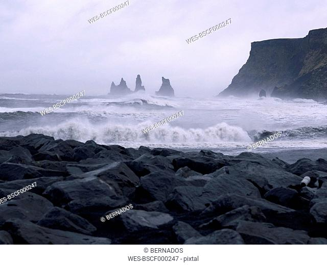 Iceland, View of Atlantic Ocean waves at Black Lava Beach