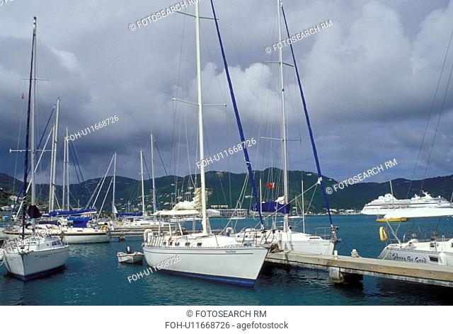 marina, Caribbean, Tortola, British Virgin Islands, Road Town, BVI, Boats docked at a yacht club on the Caribbean Sea on the island of Tortola