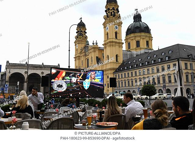 23 June 2018, Berlin, Germany - World Cup, Soccer, Germany vs Sweden, Group Stage, Group F, 2nd match day: German fans watch the match at the