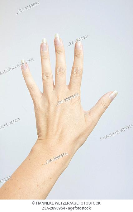 Hand with spread fingers