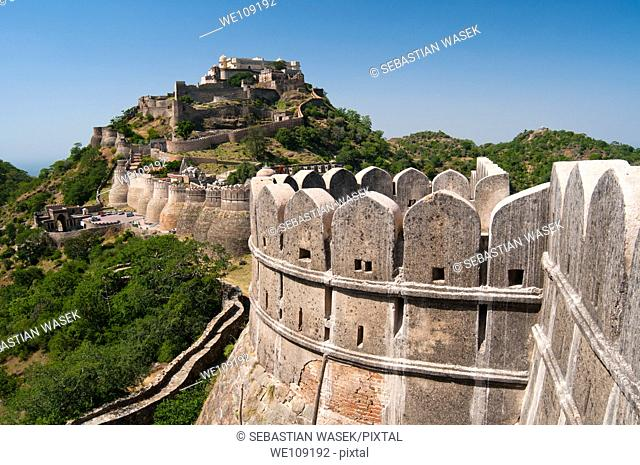 Kumbhalgarh Fort, Rajasthan state, India, Asia, Built during the course of the 15th century by Rana Kumbha, and enlarged through the 19th century