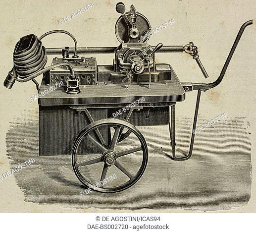 Transportable electric drilling machine, illustration from L'Industria, Rivista tecnica ed economica illustrata, Milan, 1892