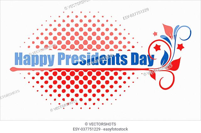 Happy Presidents Day Greeting Text Over Halftone Vector Illustration