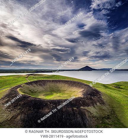 Skutustadagigar pseudo craters, Lake Myvatn, Northern Iceland. . Drone photography