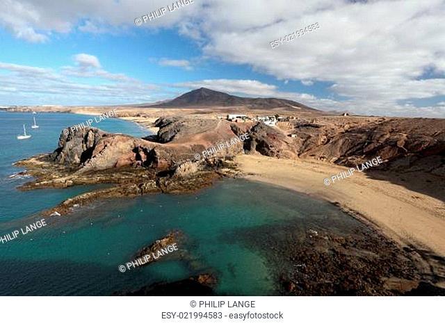 Playa de Papagayo and coastline in Lanzarote, Canary Islands, Spain