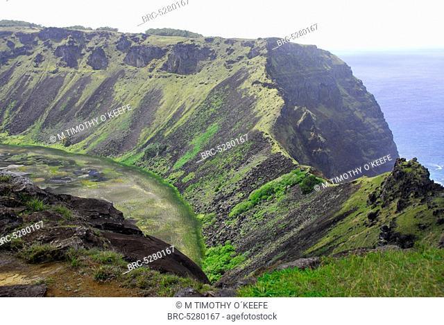 , Chile Easter Island Rano Kau volcano, Chile Easter Island Rano Kau volcano southern end rapa nui rapanui landmark m tim timothy okeefe tourist attraction...