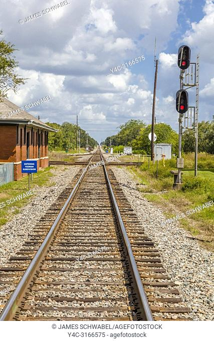 Railroad tracks at the Union Station Depot and Train Veiwing Platform in Plant City Florida in the United States