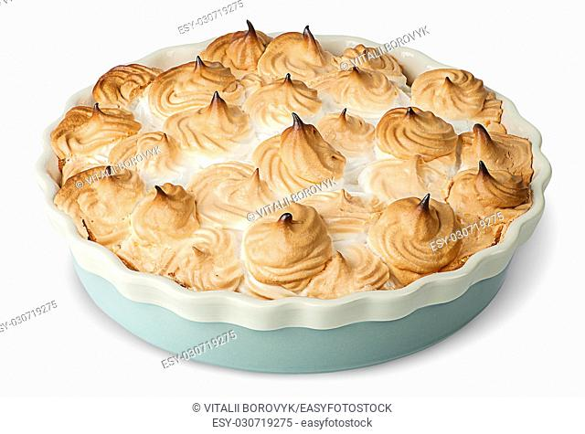 Lemon pie with meringue on dish isolated on white background