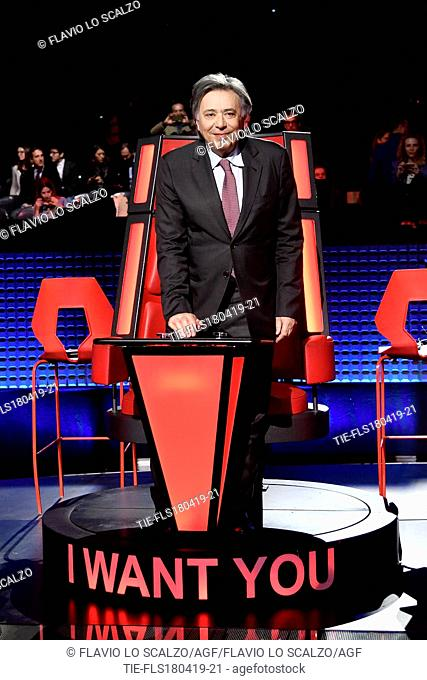 Carlo Freccero Director of Rai 2 during the photocall of tv show The voice of Italy, Milan, ITALY-18-04-2019
