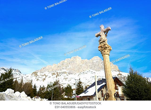 Formigal ski area stone cross in Huesca Pyrenees of Spain