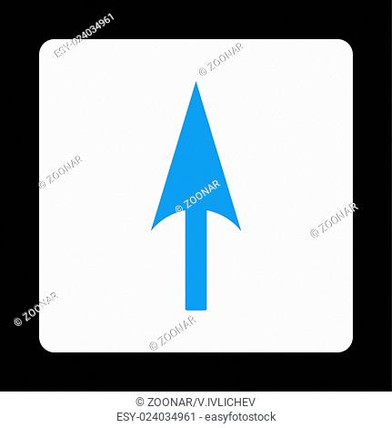 Arrow Axis Y flat blue and white colors rounded button