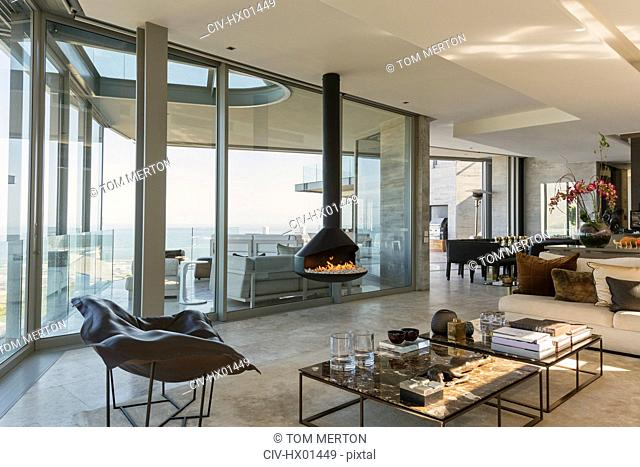 Modern luxury fireplace and home showcase living room