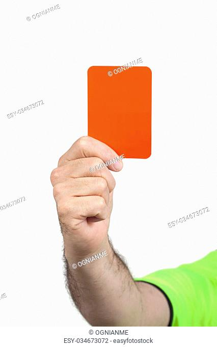 Referee hand holding a red card for punishment isolated on white background. The image contains clipping path