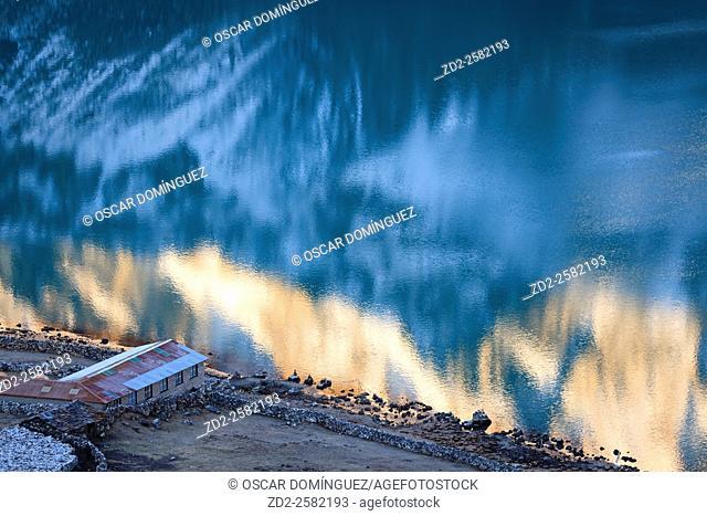 Reflections on Gokyo Lake. Sagarmatha National Park. Solukhumbu District. Nepal