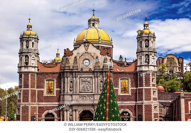 Old Basilica Christmas Tree Shrine of the Guadalupe Mexico City Mexico. Also known as Templo Expiatorio a Cristo Rey. Basilica construction was started in 1531