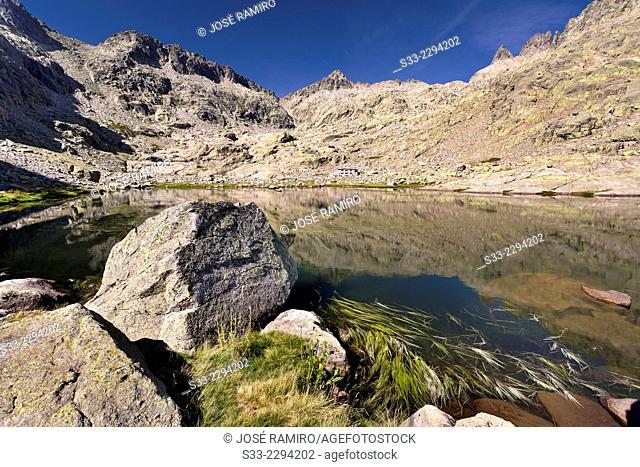 Big Lagoon and Almanzor peak in Gredos. Avila. Castilla Leon. Spain. Europe