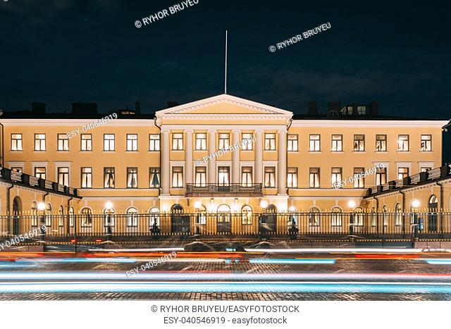 Helsinki, Finland. Presidential Palace In Evening Illuminations. Office Of President And Private Apartments For Official Functions And Receptions