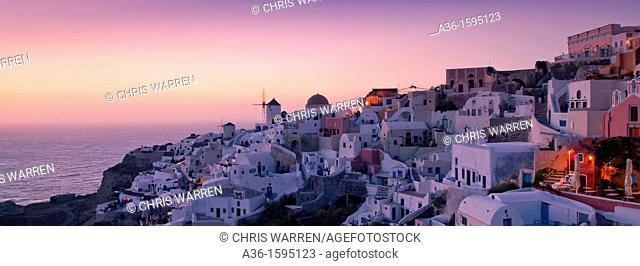 Oia Santorini Cyclades Islands Greece in evening light