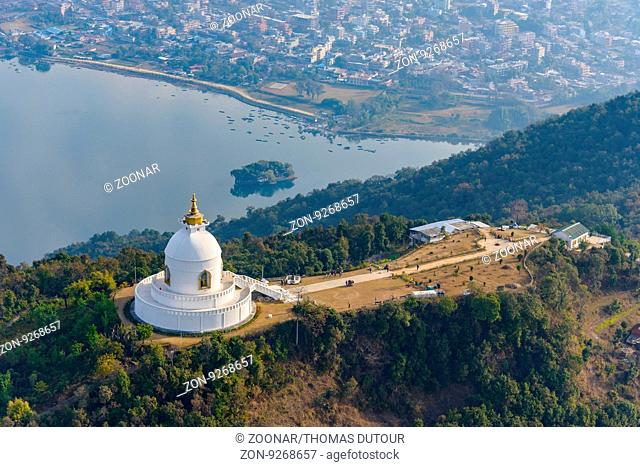 Aerial view of the World Peace Pagoda in Pokhara
