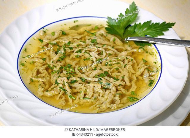 Liver Spätzle, soup in bowl, Southern German speciality