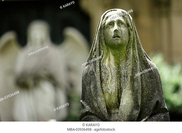 grave yard, grave, statue, female, detail