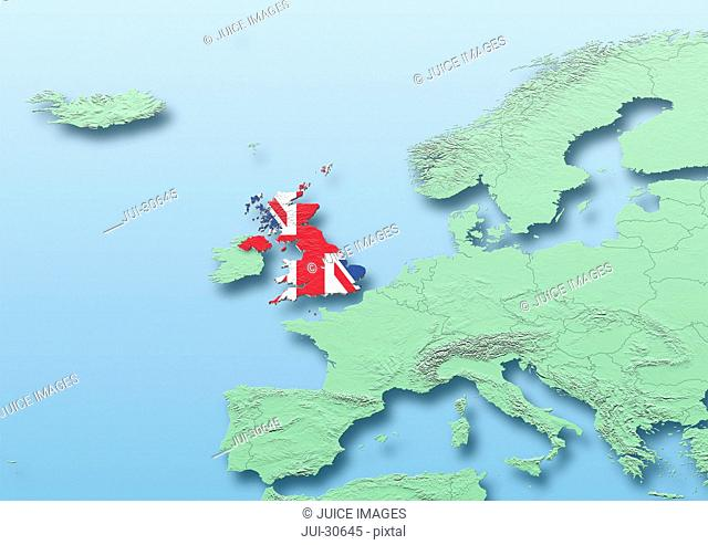 United Kingdom, flag, map, Western Europe, green, blue, physical, political