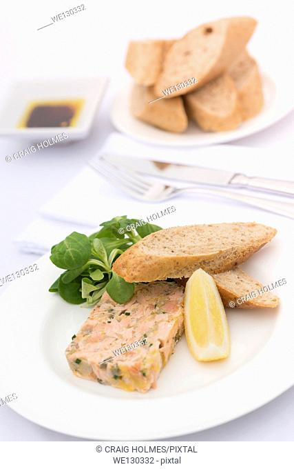 Salmon terrine served with brown bread