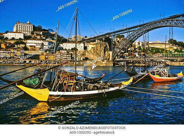 City view and D  Luis I Bridge over Duero river. Porto. Portugal