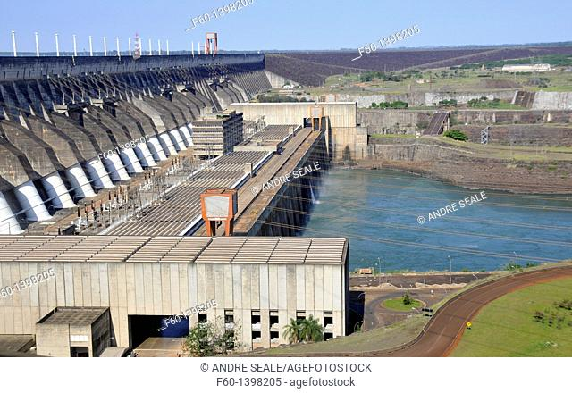 Itaipu hydroelectric dam, Parana river, border between Brazil and Paraguay