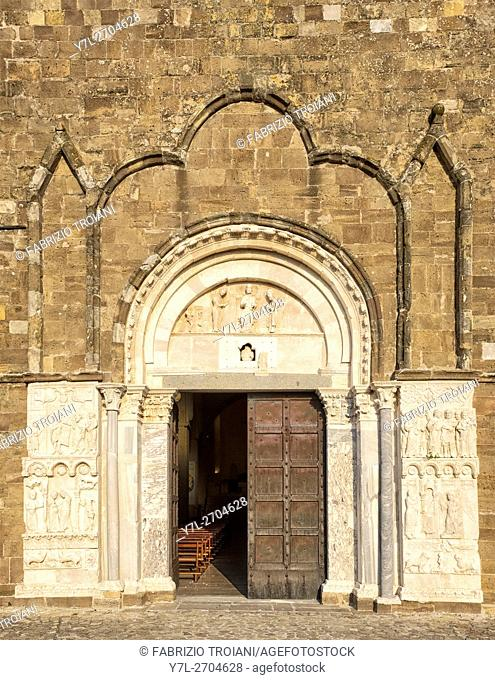 Main entrance of the abbey of San Giovanni in Venere, Fossacesia, Italy