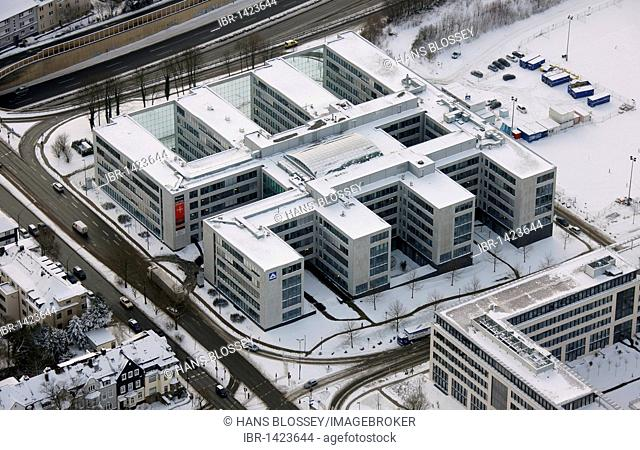 Aerial photo, HochTief headquarters in the snow, Essen, Ruhr area, North Rhine-Westphalia, Germany, Europe
