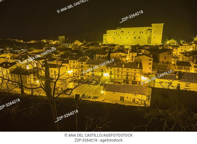 Mora de Rubielos Teruel Aragon Spain. Nightscape of the medieval village