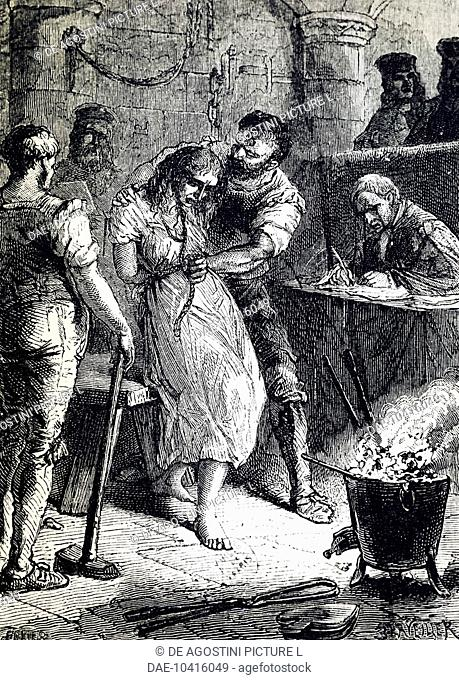 Affair of the Poisons, questioning the fortune teller Catherine Deshayes, known as La Voisin (Paris, 1640-1680) on engraving from 19th century. France