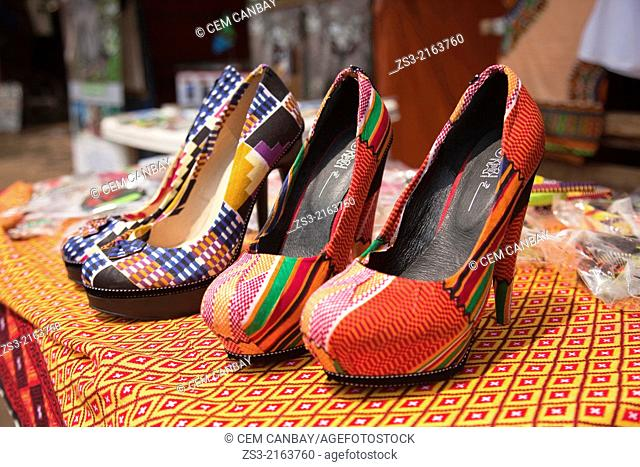 Close-up shot of colourful shoes in town center, Stone Town, Zanzibar, Unguja Island, Zanzibar Archipelago, Tanzania, Africa