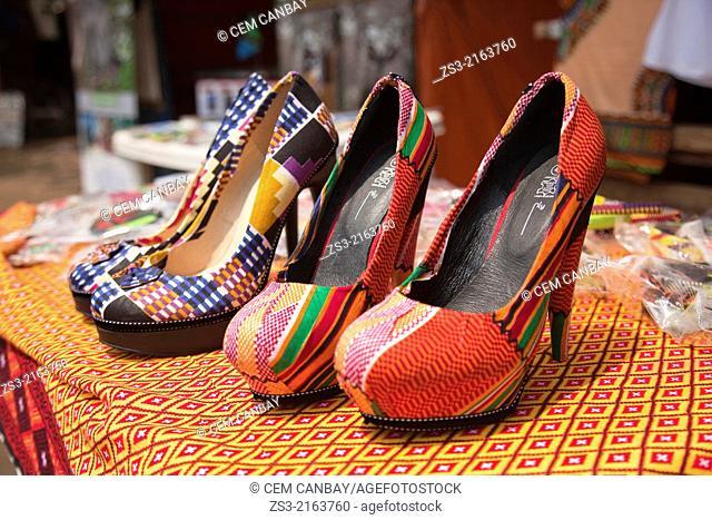 Close-up shot of colourful shoes in town center, Stone Town, Zanzibar, Unguja Island, Zanzibar Archipelago, Tanzania, Africa