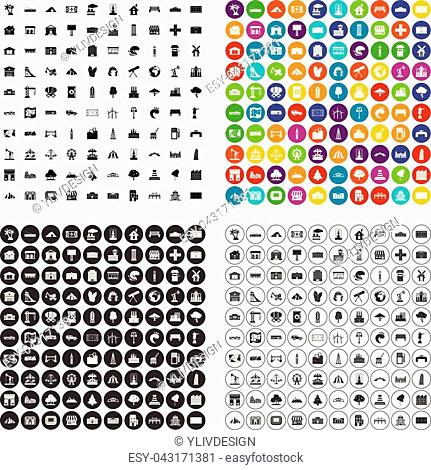 100 landscape element icons set vector in 4 variant for any web design isolated on white