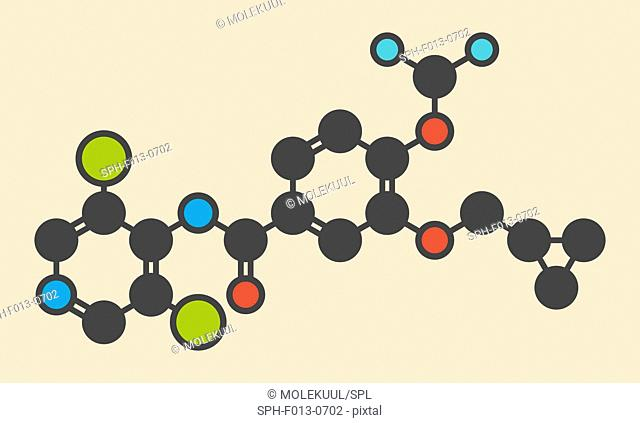 Roflumilast COPD drug molecule (PDE4 inhibitor). Stylized skeletal formula (chemical structure). Atoms are shown as color-coded circles: hydrogen (hidden)